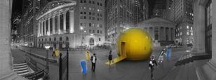 Futurystyczna kolektura group_a_architects, otoczona przez mobilne roboty do grania w lotto / fot. group_a_architects