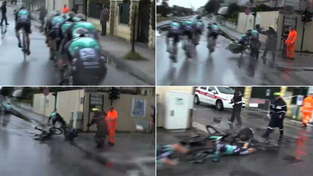 Rozpędzeni kolarze wpadli na pieszego. Rafał Majka wśród poszkodowanych