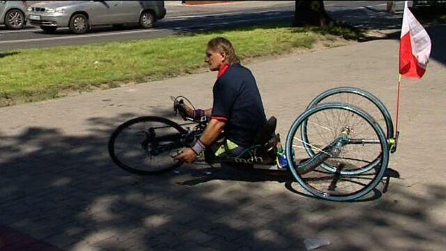 Rowerem i kajakiem pokona 1,5 tys. km. Niepełnosprawny kolarz już na trasie