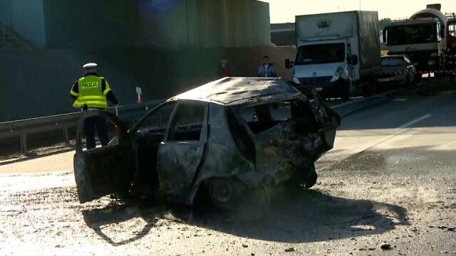 A4 crash, fire car. One dead