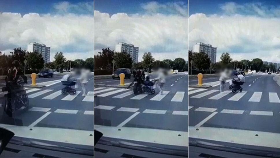 Motocyklista na przejściu dla pieszych wjechał w wózek z dzieckiem i nawet się nie zatrzymał