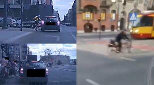 Na jednym filmie kopniaki w auto, na drugim wjazd pod tramwaj. Policja szuka tych rowerzystów