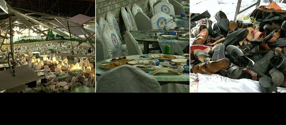 Wielka zabawa, suto zastawione stoły.  Setki ofiar bomby na weselu