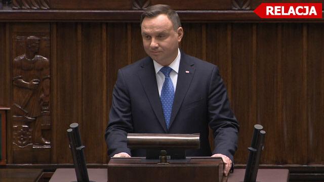Prezydent wygłasza orędzie w Sejmie