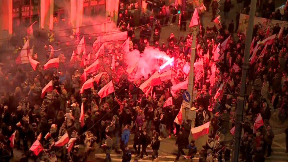 Wulgarne hasła i palone flagi. Zatrzymania  i mandaty po przemarszach narodowców