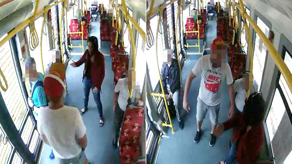 """""""Nie chcemy tutaj takich jak ty"""". Monitoring z tramwaju: kobieta broni mężczyzny"""