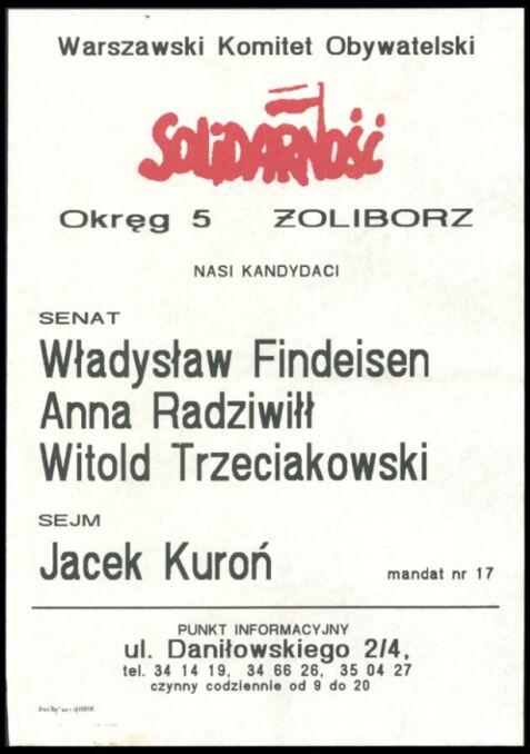 Plakat wyborczy z Żoliborza