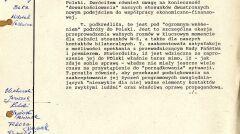 Szyfrogram ambasadora PRL w Londynie Zbigniewa Gertycha o rozmowie z premier Thatcher w sprawie planowanej wizyty, 27 października 1988 r., strona 1 (AMSZ)