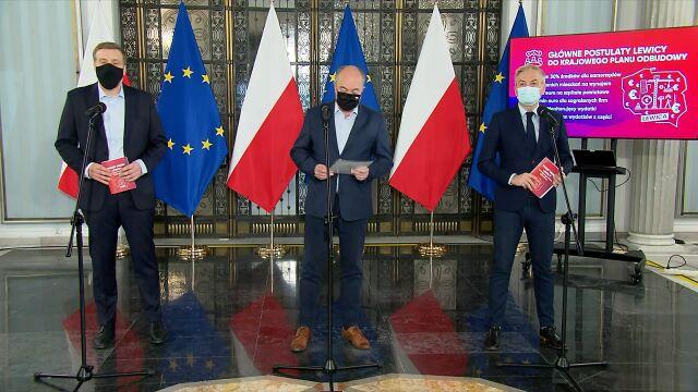 Adrian Zandberg, Włodzimierz Czarzasty i Robert Biedrońpodczas konferencji prasowej