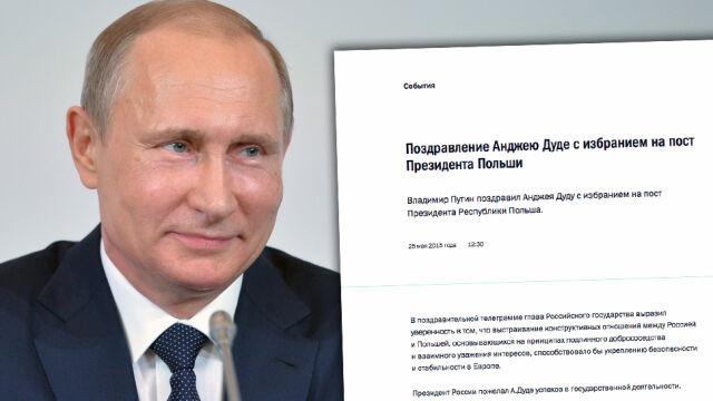 """Telegram z Kremla. """"Prezydent Rosji życzył A. Dudzie sukcesów"""""""