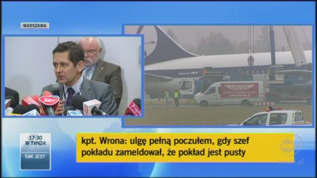 Konferencja PLL LOT na temat wypadku