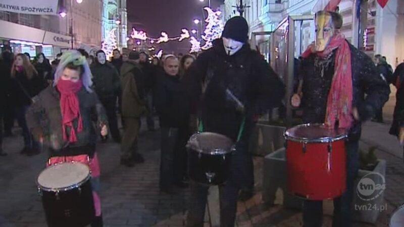 Demonstracje przeciwników ACTA (TVN24)