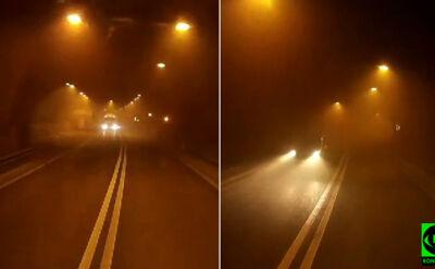 Ściana dymu w tunelu. Wewnątrz płonął samochód