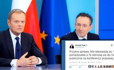 """""""Przykra sprawa. Nie lekceważę jej"""". Tusk o """"politycznym dealu"""" Sienkiewicza i Belki"""