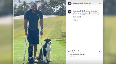 Woods na rehabilitacji razem z psem.