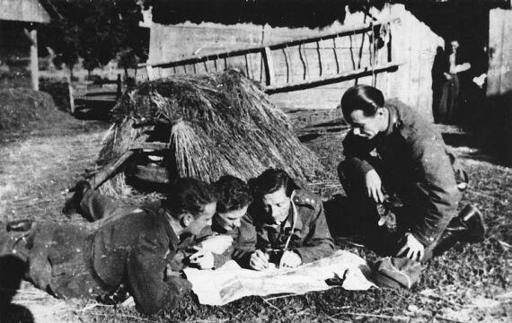 Żołnierze 6 kompanii 26 Pułku Piechoty - Okręg Lwów Armii Krajowej. Oficerowie studiują mapę na wiejskim podwórku