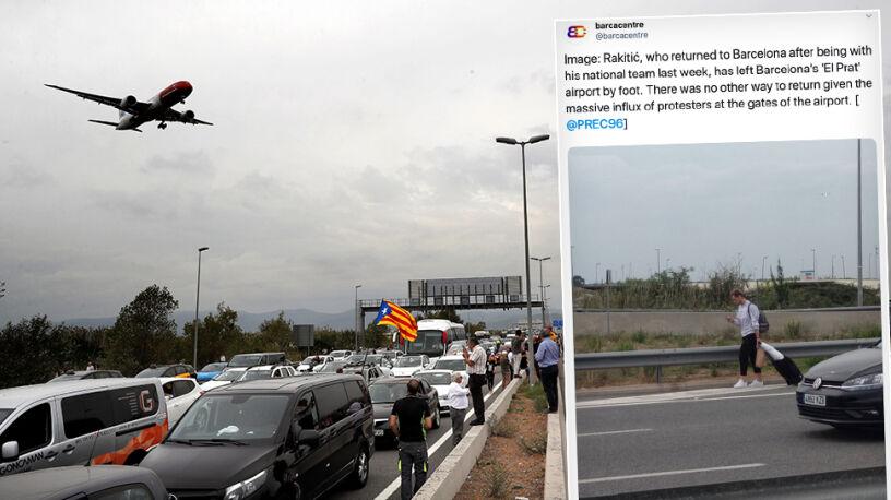 Protestowali na lotnisku. Piłkarz Barcelony musiał wracać na piechotę