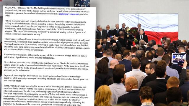 """OBWE o """"używaniu narracji dyskryminacyjnej przez czołowych polityków"""" w polskiej kampanii"""
