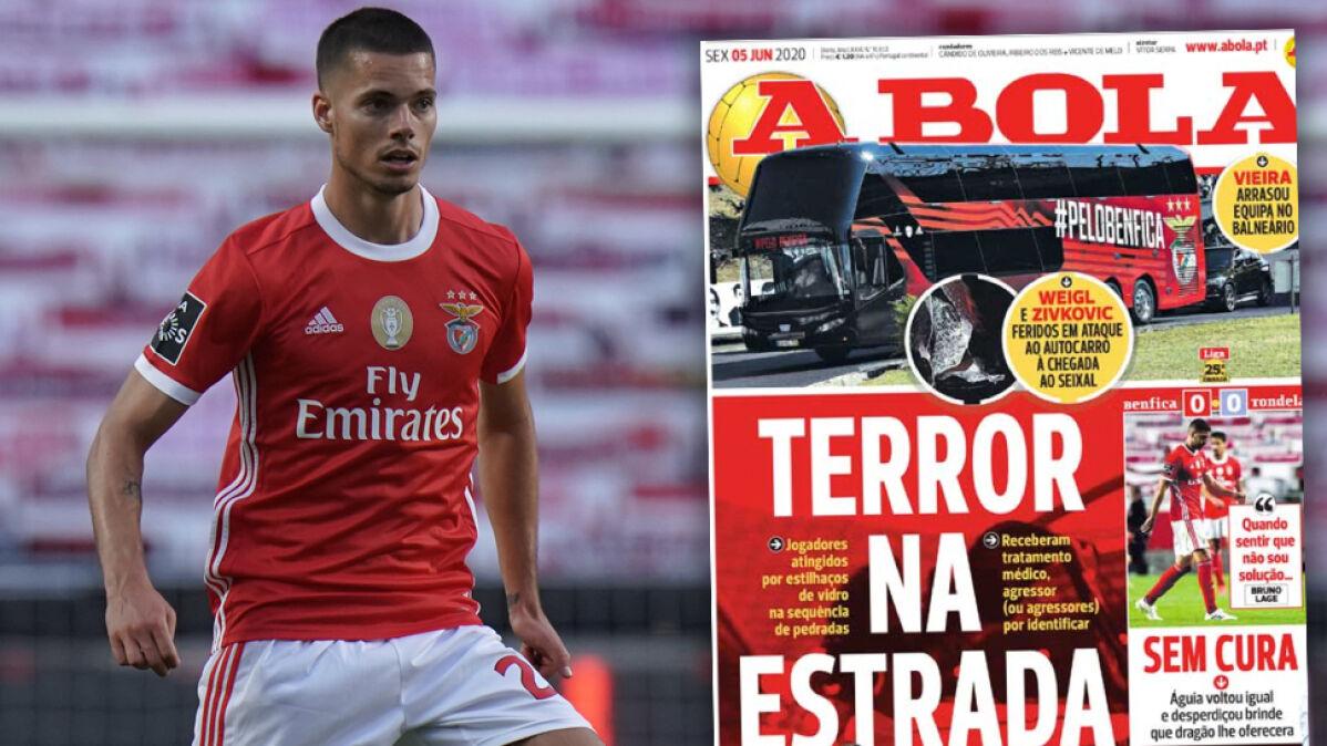 """""""Terror na drodze"""". Autokar z piłkarzami  Benfiki zaatakowany tuż po spotkaniu"""