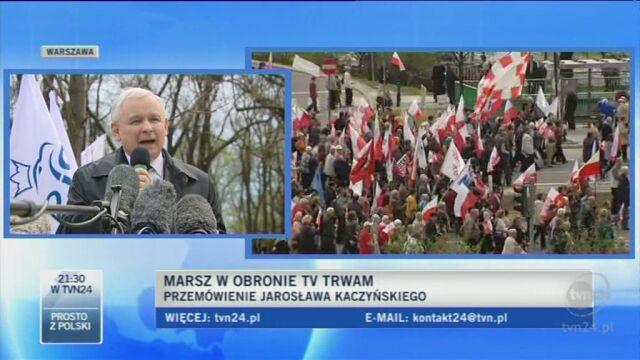 Jarosław Kaczyński o obronie katolików (TVN24)