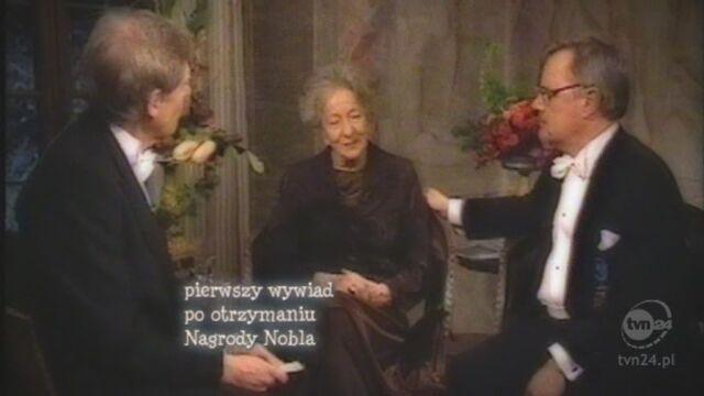 Fragment pierwszego wywiadu udzielonego po otrzymaniu literackiej Nagrody Nobla (TVN24)