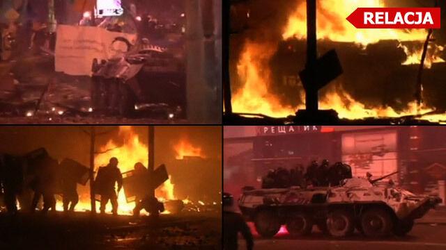 Majdan spowity dymem i łuną pożarów. Czekają na kolejny atak milicji