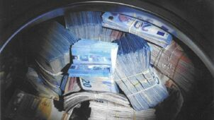 Brudne pieniądze ukryte w pralce