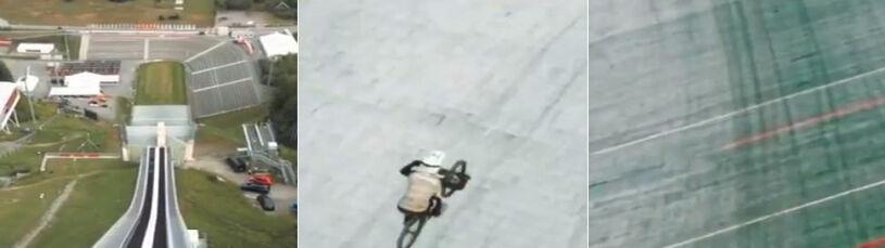 Nieudany lot rowerem na skoczni narciarskiej.