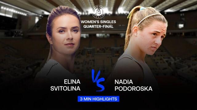 Skrót meczu Switolina - Podoroska w ćwierćfinale Roland Garros
