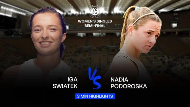 Skrót meczu Świątek - Podoroska w półfinale Roland Garros