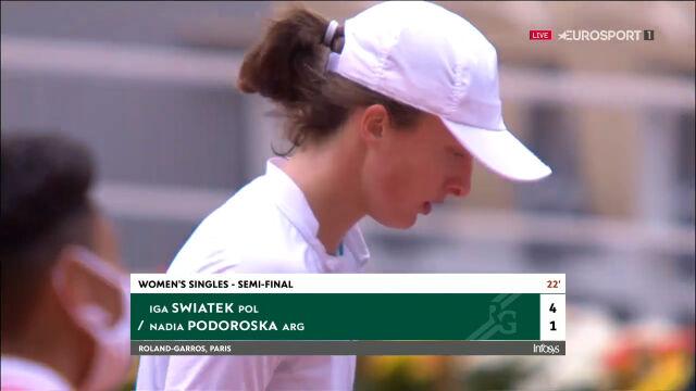Świątek w fantastycznym stylu obroniła się przed przełamaniem w 1. secie półfinału Roland Garros