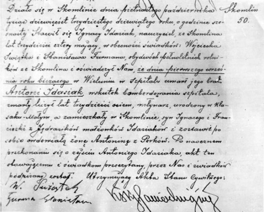 Fotokopia aktu zgonu zamordowanego w szpitalu w dniu 1 września 1939 r.