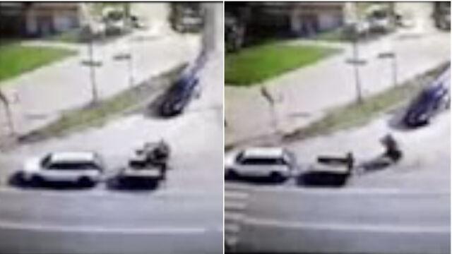 """""""Zgubił"""" betoniarkę. Spadła z przyczepki przed samochodem nauki jazdy"""