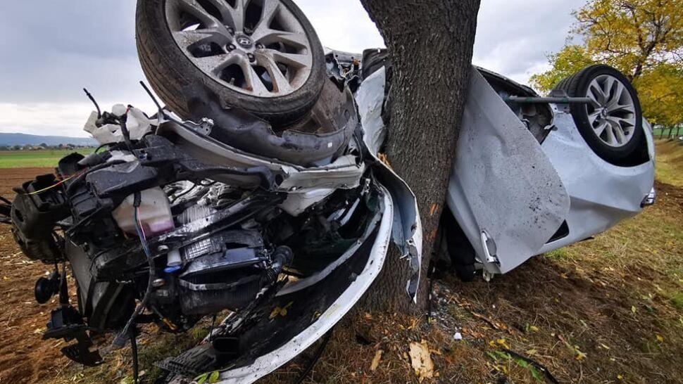 Auto wypadło z drogi, zawinęło się na drzewie.  18-letni kierowca bez poważnych obrażeń