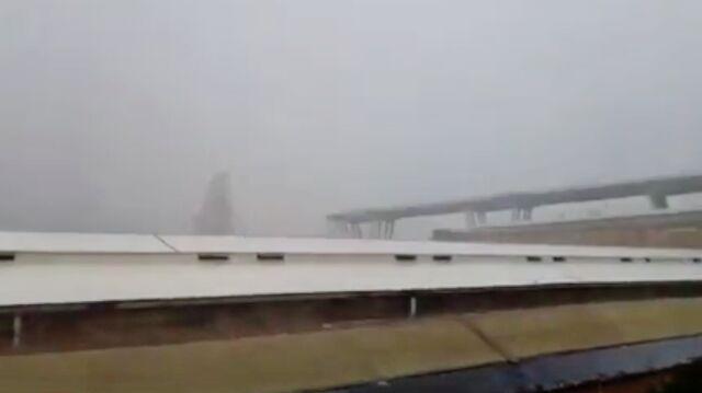 Moment zawalenia się wiaduktu na nagraniu