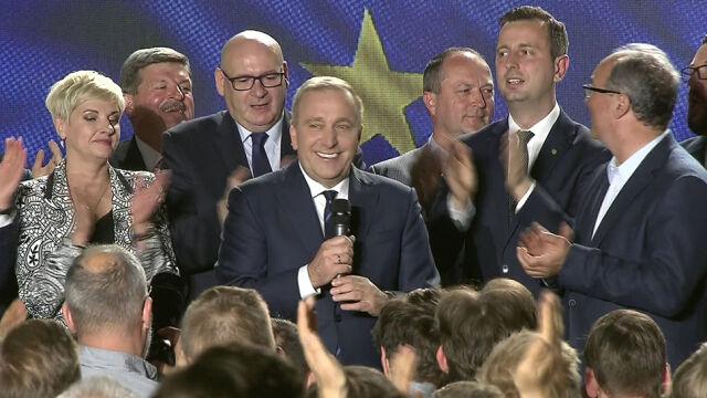 W sztabie Koalicji Europejskiej przemawiał Grzegorz Schetyna