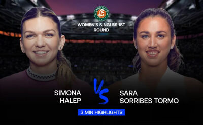 Skrót meczu Halep - Sorribes Tormo w 1. rundzie Roland Garros