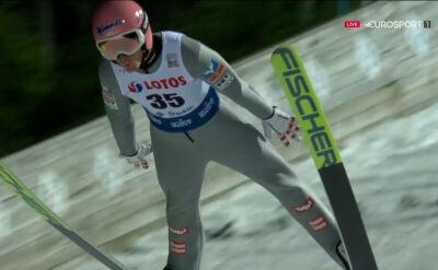 Skok Daniela Hubera z 1. serii konkursu w Wiśle