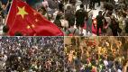 Podeptana chińska flaga w śmietniku