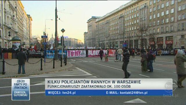 Maciej Karczyński, rzecznik warszawskiej policji o rannych policjantach/TVN24