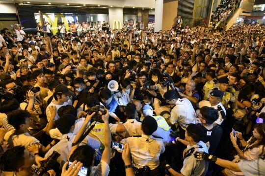 Tłumy podczas demonstracji w Hongkongu