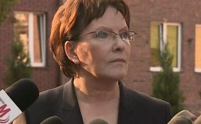 Chciałabym skoncentrować się na pomocy dla poszkodowanych i ich rodzin - powiedziała premier Ewa Kopacz