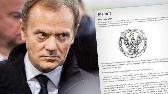 Dodatkowe materiały MON w sprawie Tuska przesłane do prokuratury