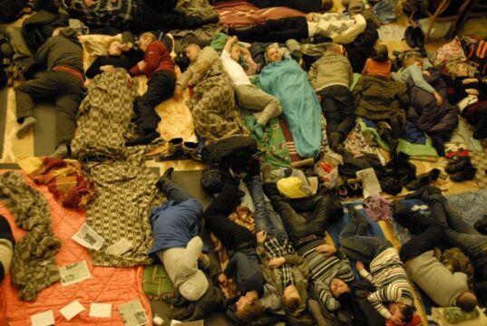Koczujący w ratuszu w Kijowie