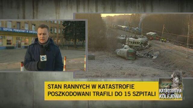Trzy ciężko ranne osoby przebywają w szpitalu w Zawierciu (TVN24)