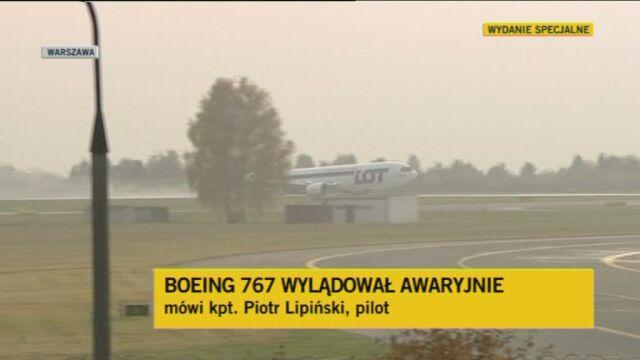 Kpt. Piotr Lipiński o awaryjnym lądowaniu (TVN24)