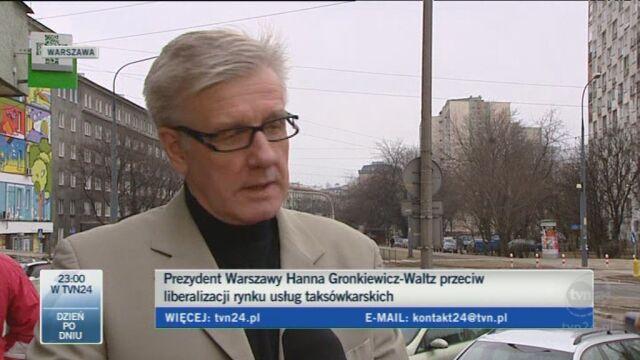 Taksówkarze popierają prezydent Warszawy (TVN24)
