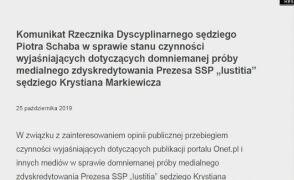 Komunikat Rzecznika Dyscyplinarnego sędziego Piotra Schaba ws. domniemanej próby zdyskredytowania Markiewicza
