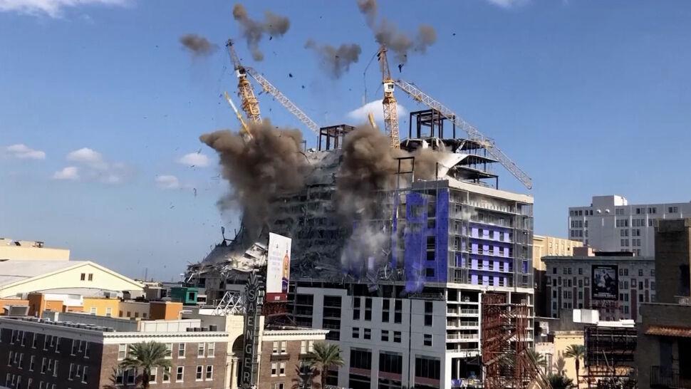 Najpierw zawalił się hotel, teraz wysadzili dźwigi