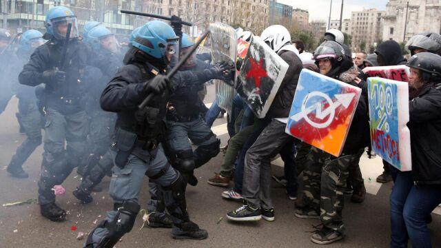 50 demonstracji we Włoszech.  Zamieszki w Rzymie, Mediolanie i Turynie